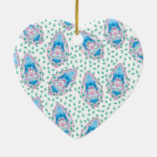 Pretty Paisley Watercolor Pattern Ceramic Heart Decoration