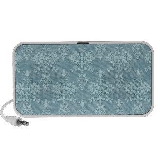 Pretty Pale Blue Damask Pattern Laptop Speakers
