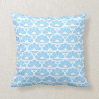 Pretty Pale Blue White Flower Sunrise Stripe Cushion