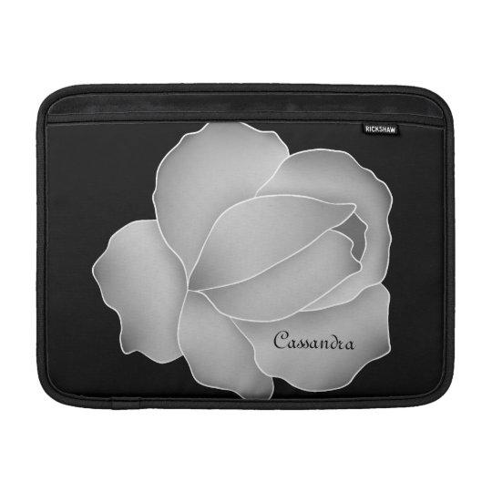Pretty pale grey rose personalised MacBook sleeve