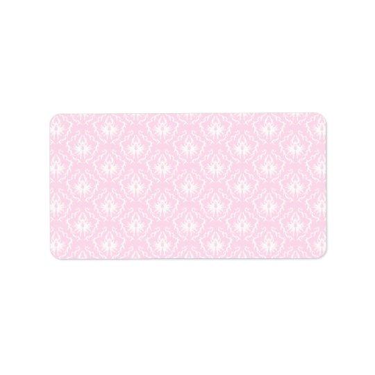 Pretty pale pink damask pattern with white. address label