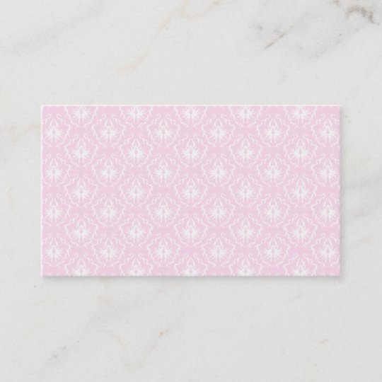 Pretty pale pink damask pattern with white. business card