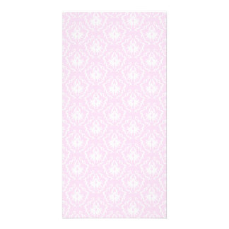 Pretty pale pink damask pattern with white. card