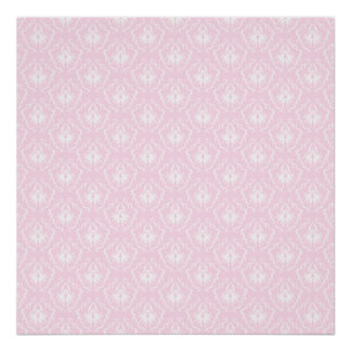 Pretty pale pink damask pattern with white. poster