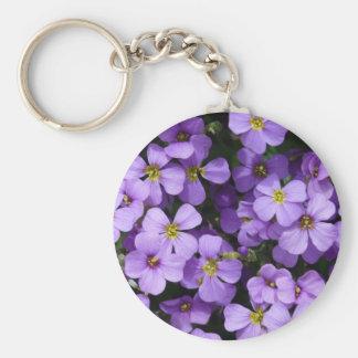 Pretty Pale Purple Flowers Basic Round Button Key Ring