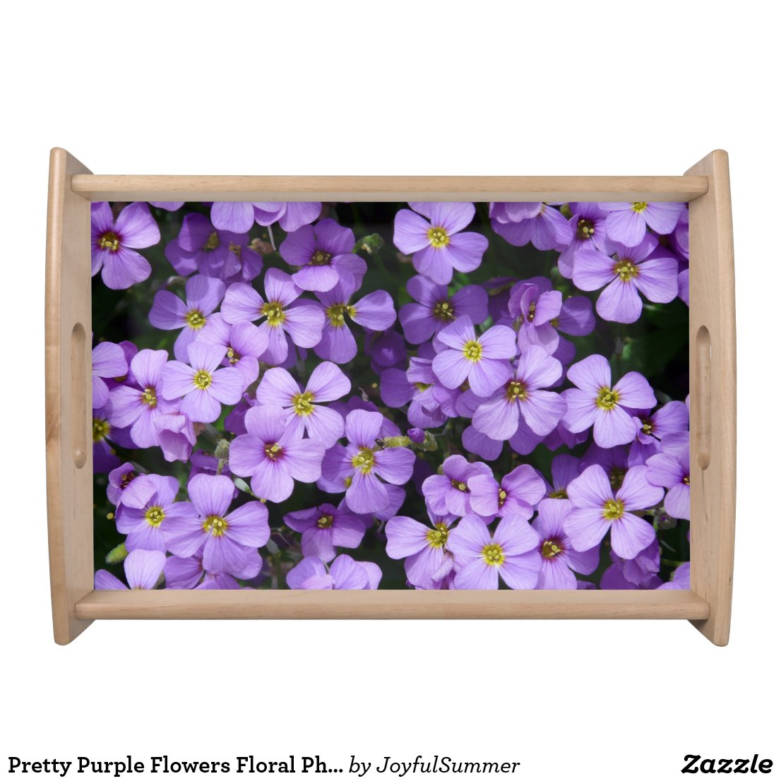 Pretty Pale Purple Flowers Photo Serving Tray
