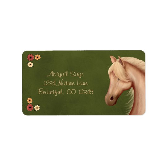 Pretty Palomino Pony and Flowers Horse Address Label