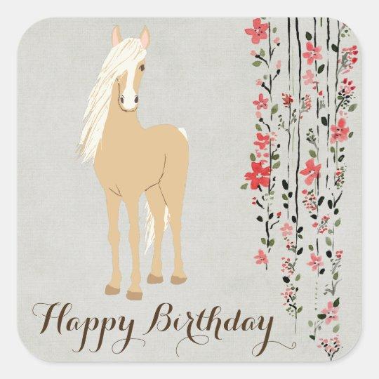 Pretty Palomino Pony Flowers Horse Happy Birthday Square