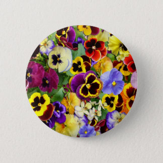 Pretty Pansies 6 Cm Round Badge