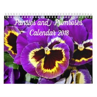 Pretty pansies and primroses wall calendar