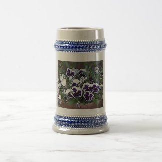 Pretty Pansies Beer Stein