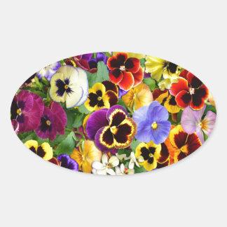 Pretty Pansies Oval Sticker