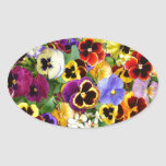 Pretty Pansies Oval Stickers