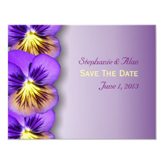 Pretty Pansies Save The Date Cards 11 Cm X 14 Cm Invitation Card
