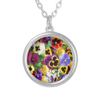 Pretty Pansies Silver Plated Necklace