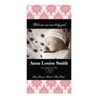 Pretty Paris Damask Birth Announcement Cards Photo Cards