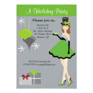 Pretty Party Girl Holiday Party Invitation