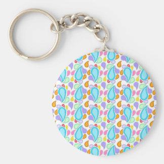 Pretty Pastel Colors Paisley Pattern Key Chain