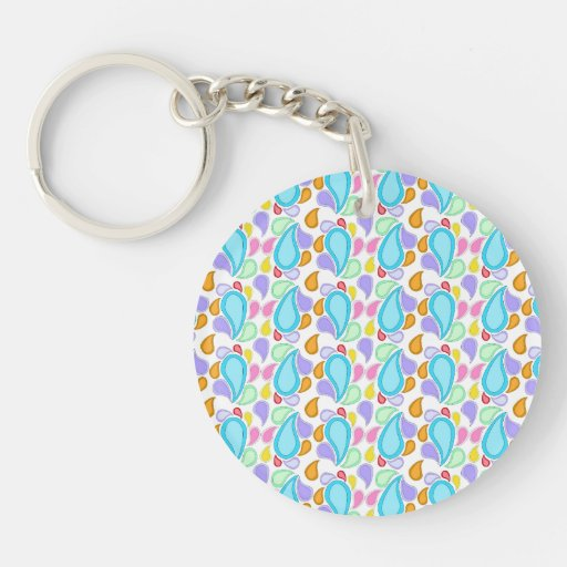 Pretty  Pastel Colors Paisley Pattern Acrylic Keychain