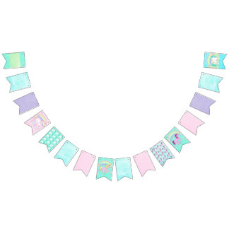 Pretty Pastel Coloured Unicorn Birthday Flag