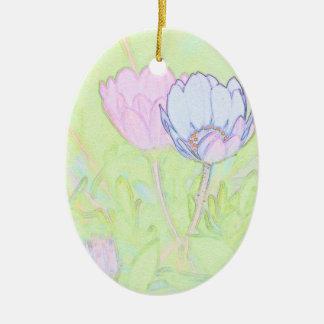 Pretty Pastel Daisies Ceramic Oval Decoration
