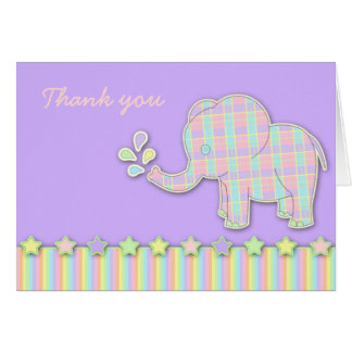 Pretty Pastel Elephant Baby Shower Thank You Card