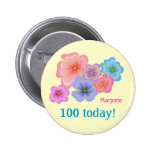 Pretty pastel flowers 100th birthday 6 cm round badge
