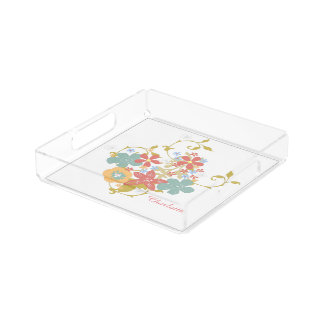 Pretty Pastel Flowers Design Personalized Acrylic Tray