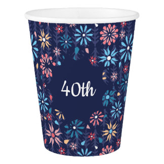 Pretty pastel flowers on navy background paper cup
