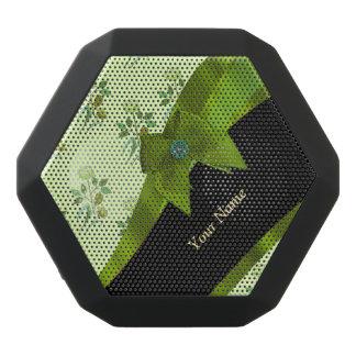Pretty pastel green vintage floral pattern black bluetooth speaker