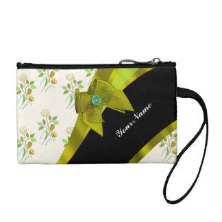 Pretty pastel green  vintage floral pattern coin purse