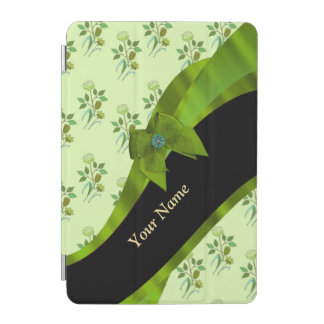 Pretty pastel green vintage floral pattern iPad mini cover