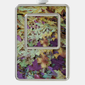 Pretty Pastel Leaves Photography Silver Plated Framed Ornament