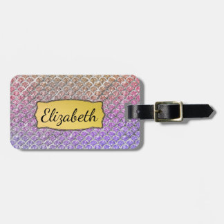 Pretty Pastel Mermaid Scallops Personalized Luggage Tag