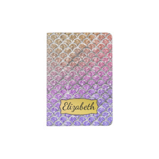 Pretty Pastel Mermaid Scallops Personalized Passport Holder