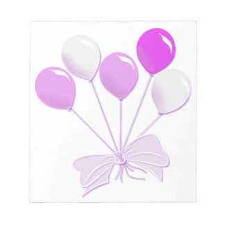 Pretty Pastel Pink and White Balloons Notepad