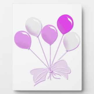 Pretty Pastel Pink and White Balloons Plaque