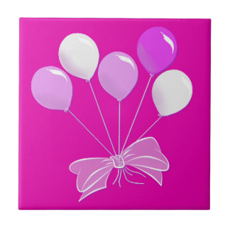 Pretty Pastel Pink and White Balloons Tile