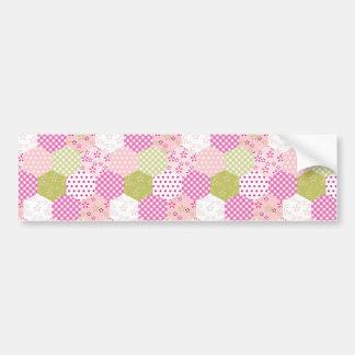 Pretty Pastel Pink Green Patchwork Quilt Design Bumper Sticker