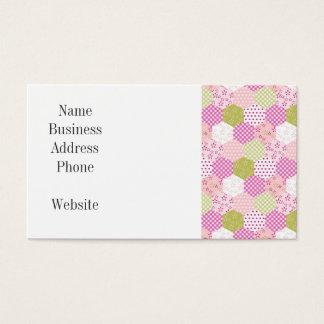 Pretty Pastel Pink Green Patchwork Quilt Design Business Card