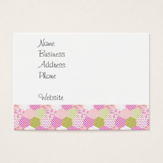 Pretty Pastel Pink Green Patchwork Quilt Design Business Card