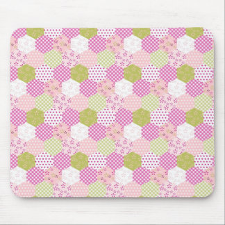 Pretty Pastel Pink Green Patchwork Quilt Design Mouse Mat