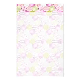 Pretty Pastel Pink Green Patchwork Quilt Design Stationery