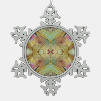 Pretty Pastel Uncommon Pattern Pewter Snowflake Decoration