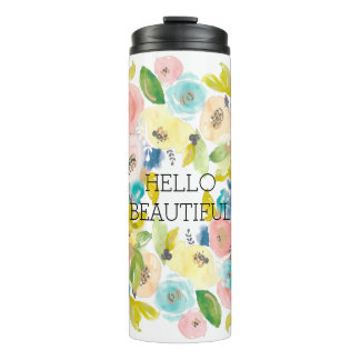 Pretty Pastel Watercolor Flowers Thermal Tumbler