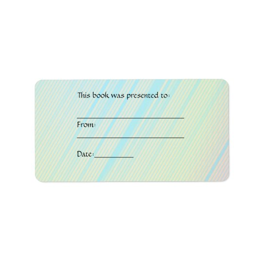 Pretty Pastels - Pale Coloured Abstract Book Plate Label