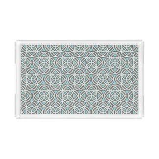 Pretty Pattern Quatrefoil in Sable | Teal Acrylic Tray