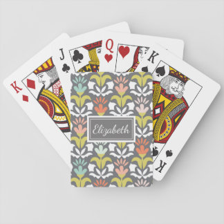 Pretty Patterned Personalized Playing Cards Floral
