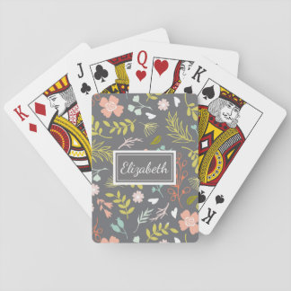 Pretty Patterned Personalized Playing Cards Flower