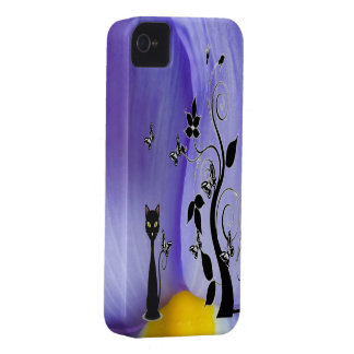 Pretty Patterns Purple Iris Black Cat iPhone 4 Case-Mate Case